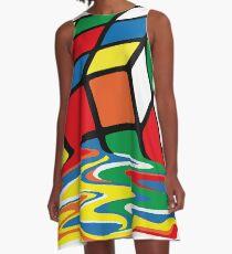 Rubik Cube Melted t Shirt, Original Gift Idea A-Line Dress