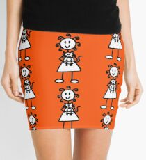 The Girl with the Curly Hair Holding Cat - Orange Mini Skirt