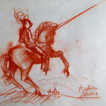 FLORENTINE  MEDIEVAL KNIGHT ON HORSEBACK Sepia Brown Drawing by BulganLumini