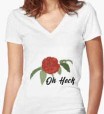 Oh Heck Flower Women's Fitted V-Neck T-Shirt
