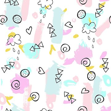 Cute abstract shapes doodling pattern  by artonwear