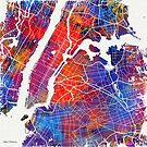 Colorful Cities - City Map New York  by Serge Averbukh