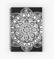 White Mural Mandala - Art&Deco By Natasha Spiral Notebook