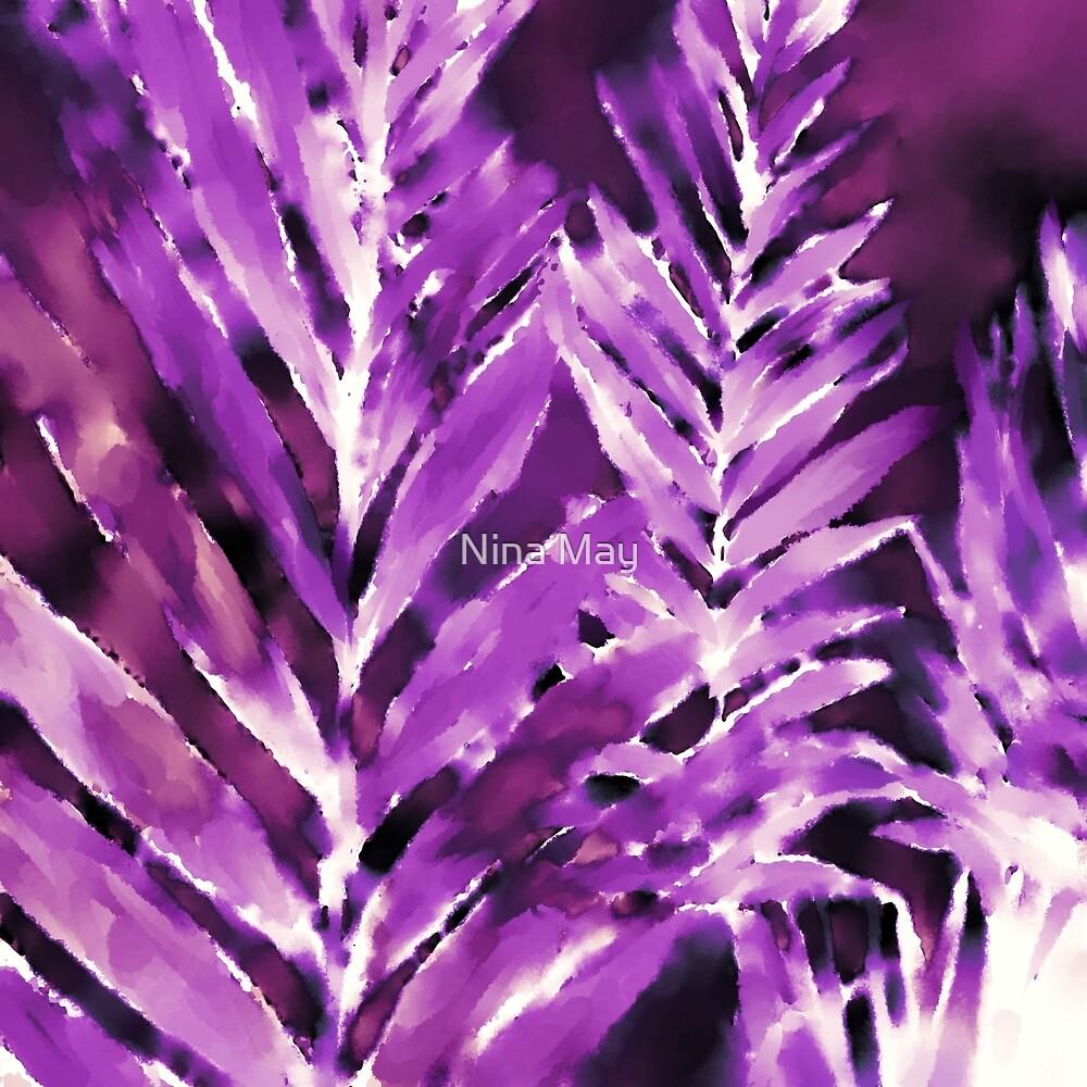Violet Bamboo Watercolor by Nina May