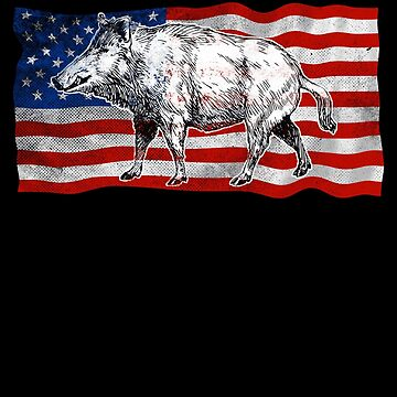 American Flag Boar Hunters Gifts Hunting Life  by roarr
