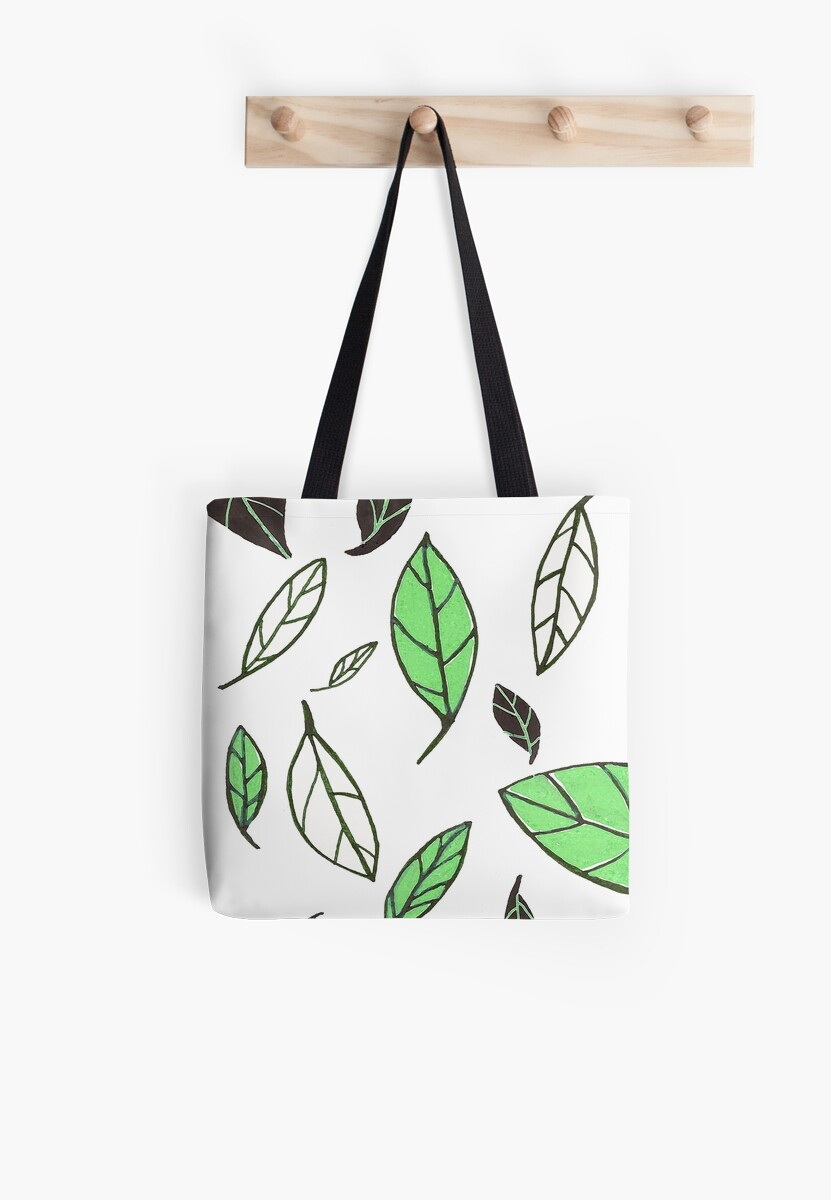 Gliding Leaves Green/Black by lifecycleprints