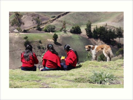 Dog watching three school girls eat lunch, Ecuador rural hillside by Kendall Anderson