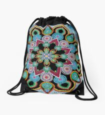 Red Star Mandala - Art&Deco By Natasha Drawstring Bag