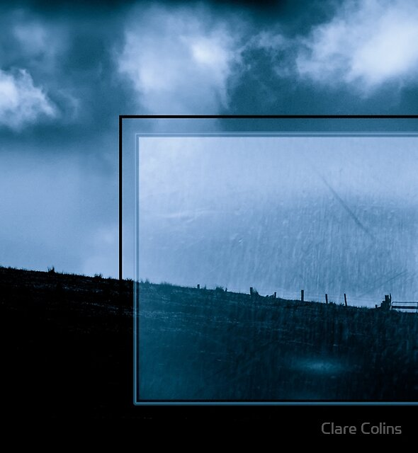 Blue Landscape with Urban Grunge by Clare Colins