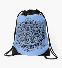 Black Mural Mandala - Art&Deco By Natasha Drawstring Bag