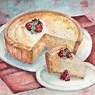 Raspberry Cheesecake Watercolor Illustration by ButtercupSaiyan