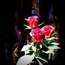 Stained Glass Red Roses 0664 Smaller Image  by Candy Paull