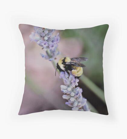 Bumblebee Gathering Pollen Throw Pillow