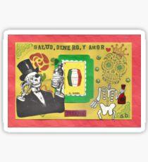 Salud Dinero y Amor Skull Drinking Bottle Sticker