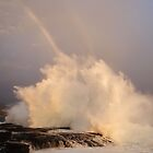 Sunset, Big Surf and a Rainbow by Ran Richards