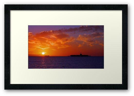 USS George Washington At Sunset  by EOS20