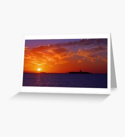 USS George Washington At Sunset  Greeting Card