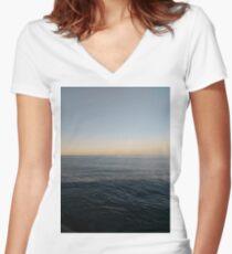 Sky, water, horizon, sea, ship, waves, island, glow, #Sky, #water, #horizon, #sea, #ship, #waves, #island, #glow Fitted V-Neck T-Shirt