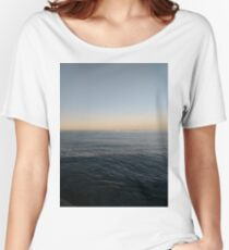 Sky, water, horizon, sea, ship, waves, island, glow, #Sky, #water, #horizon, #sea, #ship, #waves, #island, #glow Relaxed Fit T-Shirt