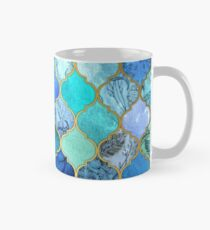 Cobalt Blue, Aqua & Gold Decorative Moroccan Tile Pattern Mug