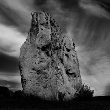 Avebury Stone in Black and White by purpleelephant