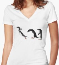 Birds - Illustration - Adelie penguins jumping  Fitted V-Neck T-Shirt