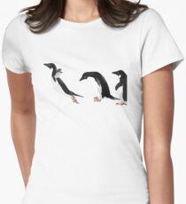Birds - Illustration - Adelie penguins jumping  Women's Fitted T-Shirt