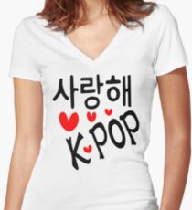 I LOVE KPOP in Korean language txt hearts vector art  Women's Fitted V-Neck T-Shirt