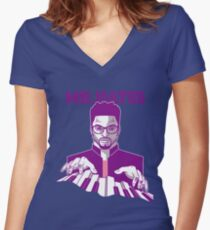 MR. HAYES White Bold Women's Fitted V-Neck T-Shirt