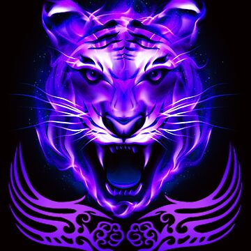 Purple Blue Fire Tiger Cat by Atteestude