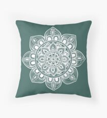 White Mural Mandala - Art&Deco By Natasha Throw Pillow