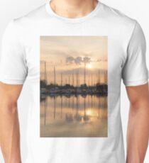 Pale Gold Sunrise With Yachts  Unisex T-Shirt