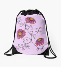 3 Flowers Drawing - Art&Deco By Natasha Drawstring Bag