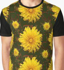 GEOMETRIC YELLOW DANDELIONS KHAKI ART Graphic T-Shirt