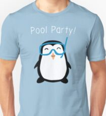 Funny Pool Party Time With Cute Penguin Wear Tee Shirt Unisex T-Shirt