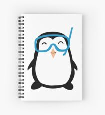 Funny Pool Party Time With Cute Penguin Wear Tee Shirt Spiral Notebook