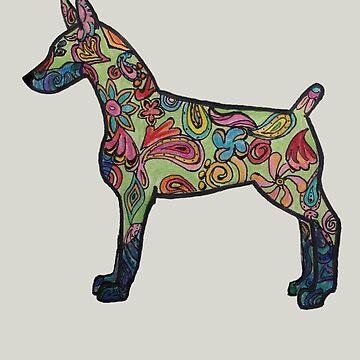 Rainbow Paisley Doberman by Creatividad