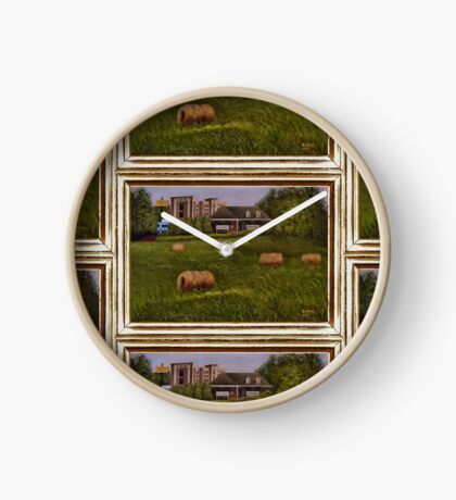 A LITTLE BIT OF COUNTRY, ACRYLIC PAINTING, DISPLAYED WITH SYNTHETIC FRAME Clock