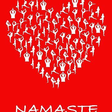 Namaste Yoga Heart With Tiny Yoga Poses Meditation Shirt by jutulen