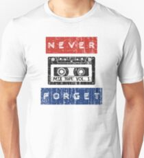 NEVER FORGET THE CASSETTE - RETRO DESIGN WITH EMBOSSED TAPE LETTERS Unisex T-Shirt