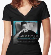 puth charlie tour 2018 biaya Women's Fitted V-Neck T-Shirt