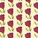 Deep Pink Rose with Leaves by Helen Dannelly