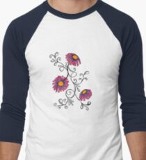 3 Flowers Drawing - Art&Deco By Natasha Men's Baseball ¾ T-Shirt