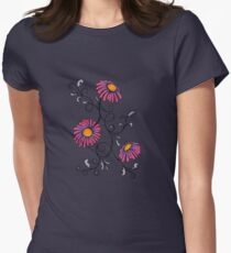 3 Flowers Drawing - Art&Deco By Natasha Women's Fitted T-Shirt