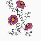 3 Flowers Drawing - Art&Deco By Natasha by ArtDecoNatasha