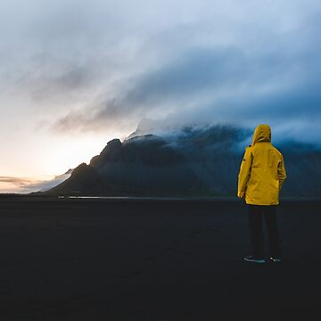 Yellow Raincoat in Stokksnes, Iceland by jehnner