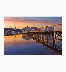 Low Tide Mosman Bay Boatshed At Dusk  Photographic Print