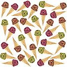 Watercolor Ice Cream Cone Pattern by Erika Lancaster