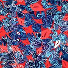 Seamless yarn pattern of a marine red fish  by Tanor