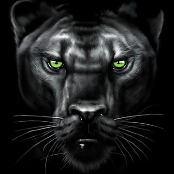 Graphic Black Panther with Green Eyes Face by kleynard